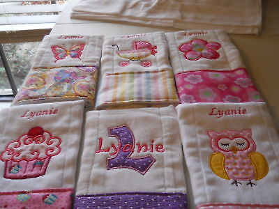 Personalized baby embroidered burp cloths set of 4 girl 4
