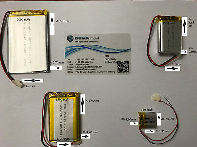 BATTERIE al polimeri di litio a celle 3,7 volt per varie mAh droni modellismo 5