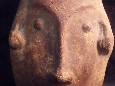 "Antique Pre-Columbian 9 1/4"" Pottery Face Mask 3"