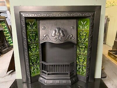 Original Antique Art Nouveau cast iron Fireplace Insert Nouveau Majolica Tiles 7