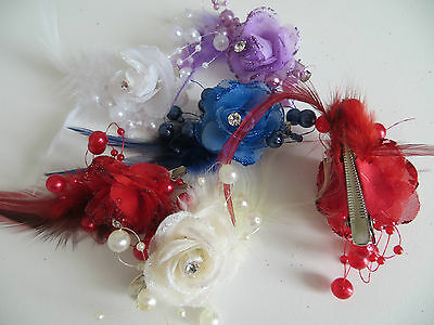 1 Bridesmaids,Flower Feather Bead Corsage Hair Clips Fascinator Hairband and Pin 4