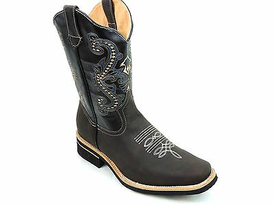 Men's Rodeo Cowboy Boots Genuine Leather Western Square Toe Botas ...