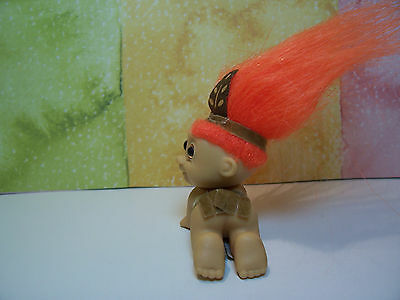 "2/"" Russ Troll Doll NEW IN ORIGINAL WRAPPER CRAWLING AMERICAN INDIAN BABY"