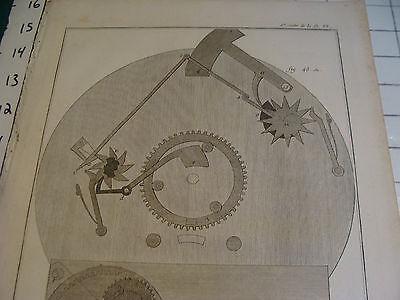 """Original engraving 1760's 10 1/2 x 16"""" PENDULE D'EQUATION DU SIEUR AMURAULD 2"""