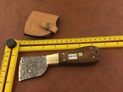 Handmade Damascus Steel Saddlers-Leather Cutter-Edge Skiving Tool-QD34 2