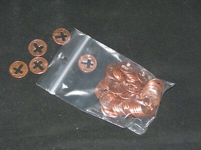 cross cut pennies, 50 pennies with a cross cut out of them 2