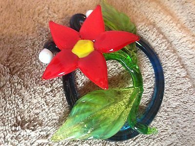 Poinsettia - Flame-worked Glass Flower Suncatcher or Small Paperweight/Ornament 4
