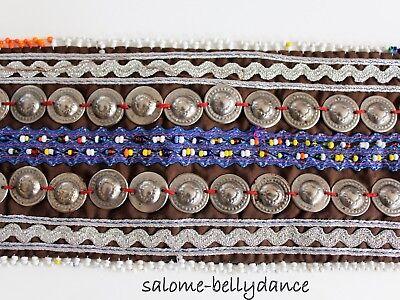 Brauner Mittelalter Bauchtanz Tribal Gürtel, 82 cm lang, Handarbeit, Baumwolle 5