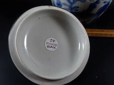 Chinese Blue White Porcelain Covered Jar Metal Clad Rim Shishi Finial Ex Skinner 6