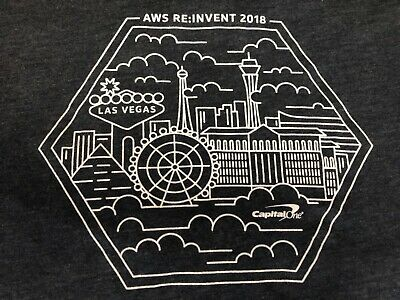 AMAZON Web Services AWS RE:INVENT 2018 Capital One T Shirt Small Used 4