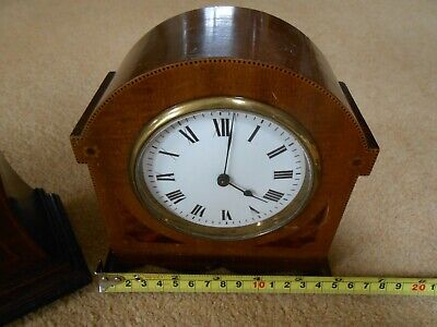 Vintage Mahogany Mantle Clock 8 Day Movement with Platform Escapement & another 3