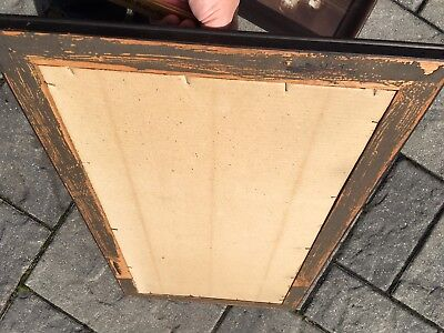 "Vintage Arts and Crafts Fumed Quartersawn Mission Oak Picture Frame 18x32"" 5"