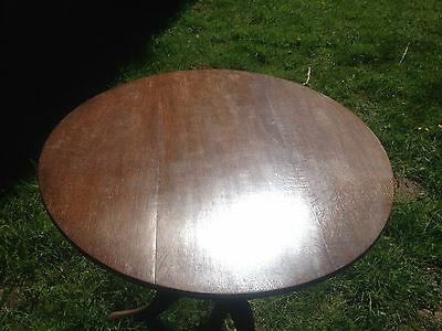 Antique GEORGIAN GEORGE III Oak Snap Tilt Top Tripod Table c1780OccasionalDining 5
