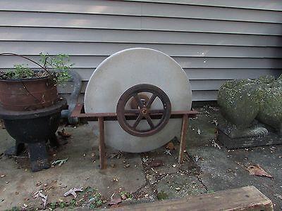 Antique Grinding Stone Wheel Industrial Iron Steampunk Garden Sculpture 3