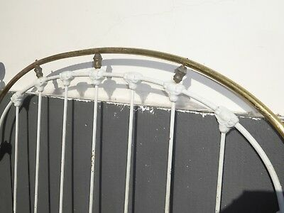 Vintage French Shabby Chic Cast Iron White Full Bed Frame Queen Headboard 6