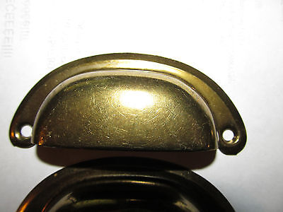 6  vintage drawer pulls bin cup handle dull brass finish steel 3-1/2 please look