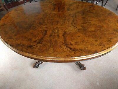 Victorian Burr Walnut Oval Breakfast Table Large Size 7