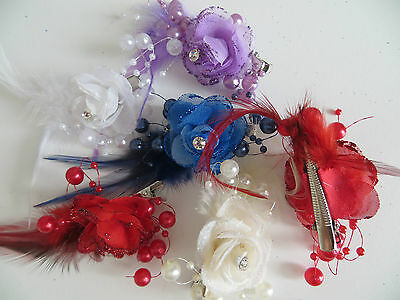 1 Bridesmaids,Flower Feather Bead Corsage Hair Clips Fascinator Hairband and Pin 5