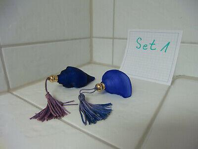 Vintage Cobold,blau Parfum Flasche, Flancon,Glas,Muschel - Selten Rarität - Set1 2