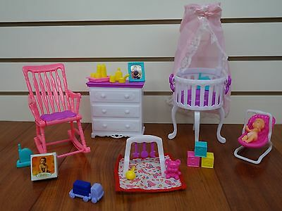 p wooden doll barbie furniture set kitchen dollhouse s dining white table house chair