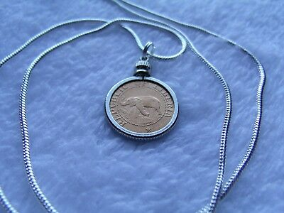 """1941 African  Elephant /& Palm Tree Coin Pendant on a 18/"""" 925 Silver Snake Chain"""