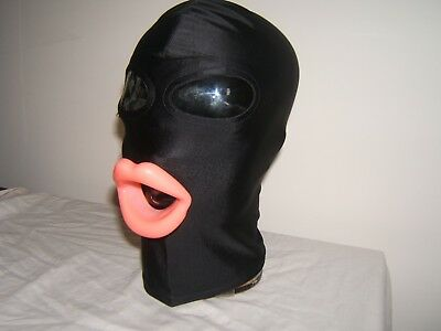 Black Spandex Gimp mask with Latex sissy lips in Red, Black or Pink Size M 6