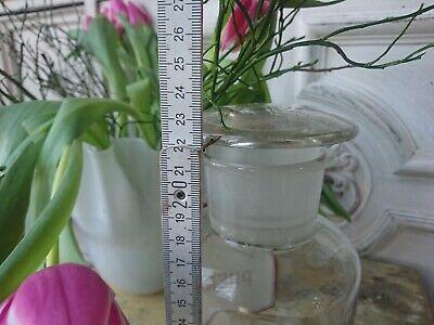 Apotheker antik Glas Flasche Apothekerflasche Etikett gemalt super als Vase 10