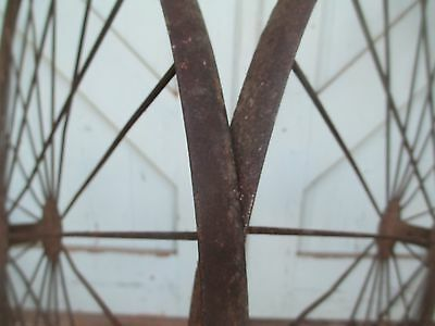 """Antique 28"""" pair IRON WHEELS industrial - steampunk SALVAGED modern design PARTS 9"""