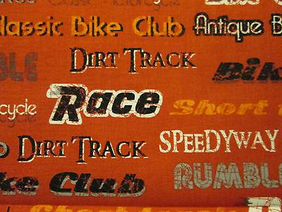 VINTAGE MOTORCYCLE CLUB WORDS BIKER ORANGE//RED COTTON FABRIC FQ
