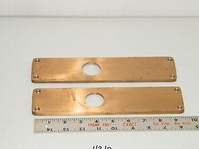 2 Solid Brass Door Lock Cylinder Plates 9 13/16 x 2 1/4 5