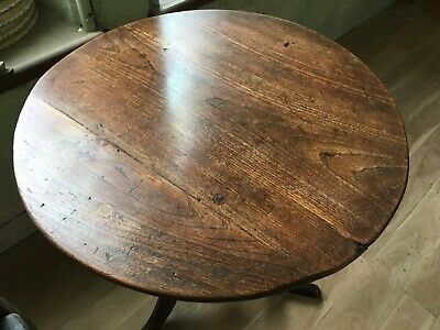 18th Century Small Oak and Elm Georgian Turned Tilt Top Round Table Occasional 9