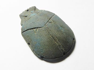 Zurqieh - Ancient Egypt. Beautiful And Very Rare Egyptian Blue Scarab. 1075 B.c 5