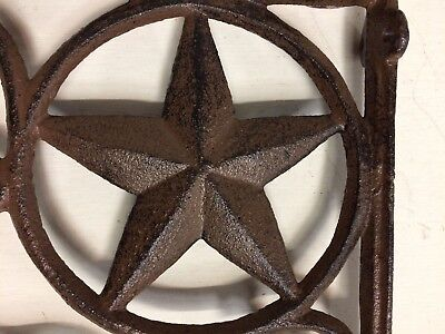 SET OF 2 WESTERN STAR SHELF BRACKET/BRACE, Antique Rustic Brown patina cast iron 3