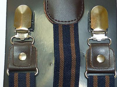 Leather Clip-on Suspenders and BOW TIE Matching Color Elastic Adjustable Braces 4