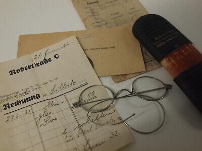 alte antike Brille Vorkrieg Nickelbrille vintage glasses  Rechnung ´32 Zeitz 3