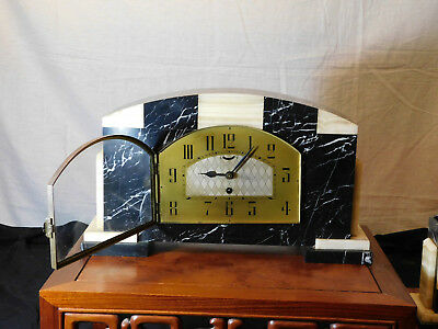 French Art Deco c1930's UCRA Marble Mantle Clock w/Garnitures 5
