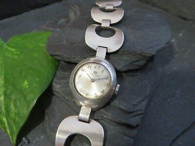 Retro 835 Silber Armbanduhr Damen SK Exklusiv Space Age Vintage Bullauge Edel