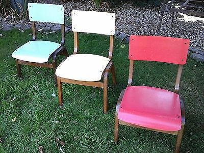 RARE COLLECTORS~ 1x Antique Vintage Wooden Child School Desk Chair (3 available) 2