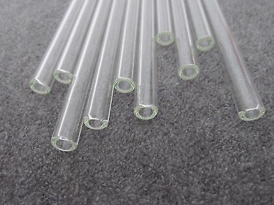 """5.5 _ 6"""" Pyrex Glass Blowing tubes 5 Piece 10mm OD 6mm ID Tubing 2mm Thick Wall 6"""