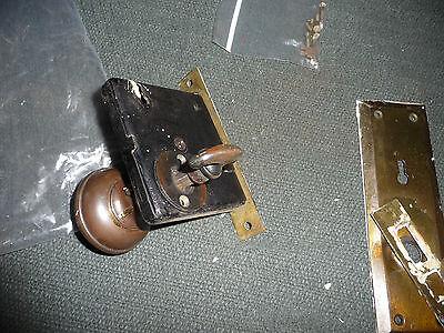 #56D antique vtg  metal door knob with back plates & lock 3