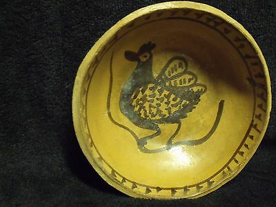 """Antique South American 6"""" Rooster And Snake Semi-Glazed Terra Cotta Clay Bowl 4"""