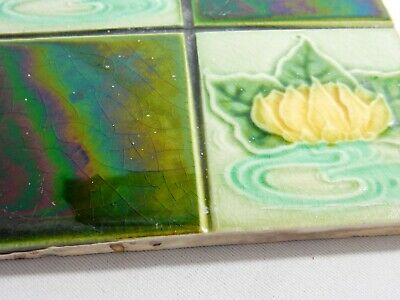 Antique Tile Washstand Fireplace Wash Stand Art Nouveau Green Lily Pad Quarter 2