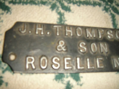 Antique Steel Name Plate Wall Plaque-JH Thompson & Son Roselle New Jersey-RARE 4