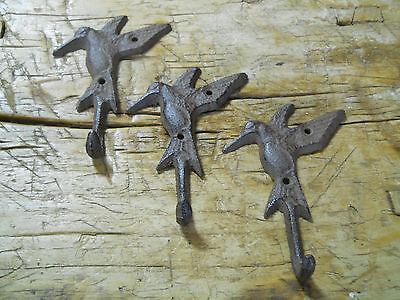12 Cast Iron HUMMINGBIRD Towel Hanger Coat  Hat Hooks, Key Rack GARDEN Hook BIRD 3