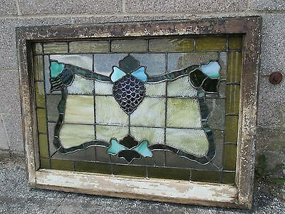 ~ ANTIQUE AMERICAN STAINED GLASS WINDOW GRAPEVINE 34x25 ARCHITECTURAL SALVAGE ~ 10