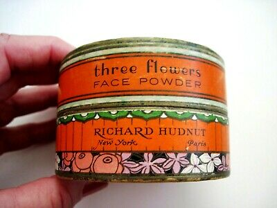 "Vintage Powder Box ""Three Flowers"" Face Powder - ""Richard Hudnut "" Art Deco  * 2"
