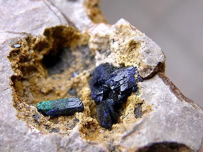 """Minerales"""" Extraordinario Cristal De Azurita Con Malaquita Marruecos - 9A13 """" 4"""