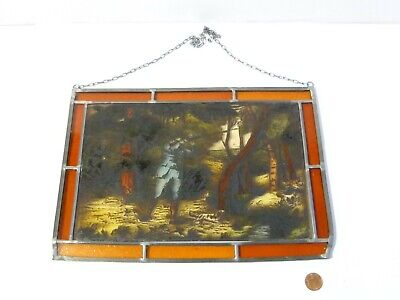 Vintage Shooting Scene Lead Lined Hand Painted Stained Glass Window Hanging 2