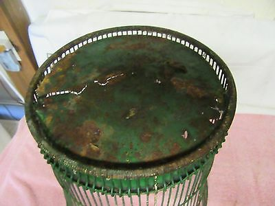 Antique Vintage Massillon Ohio Daisy Metal Wire Green Wastebasket - NEAT 7