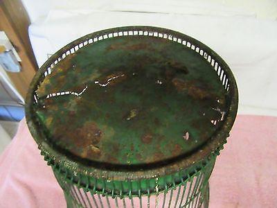 Antique Vintage Massillon Ohio Daisy Metal Wire Green Wastebasket - NEAT 7